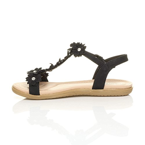Womens Ladies Flat Padded Comfort t-Bar Buckle Flower Diamante Sandals Size Black T2L2aFE