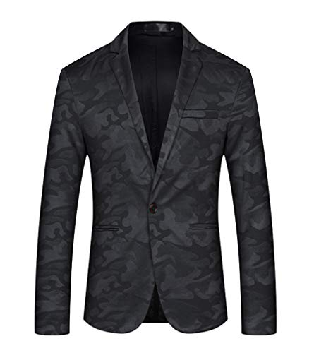 Men Shawl Collar One Button Slim Fit Casual Camouflage Blazer Suit Jacket (Black, L)