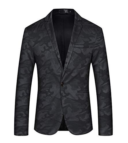 Men Shawl Collar One Button Slim Fit Casual Camouflage Blazer Suit Jacket (Black, L)