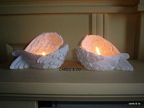 Teelicht Halter Engelsflügel Weiß Kerzenhalter