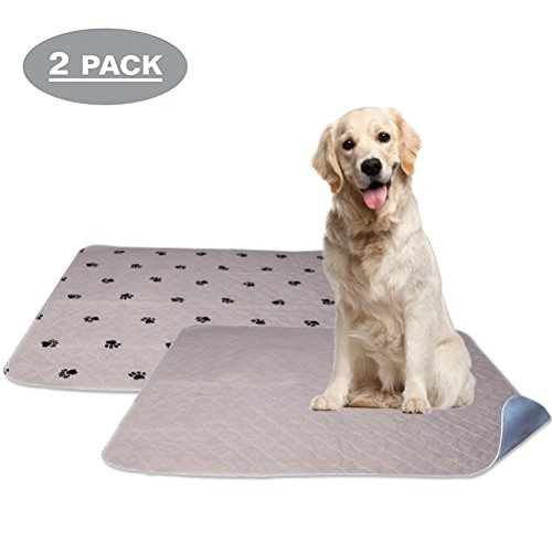 Housebreaking Floor Protection Pads - PUPTECK 2 Pack Washable Dog Pee Pads - Waterproof and Reusable Whelping Mat for Puppy Housebreaking and Travel