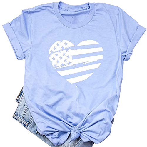 Beopjesk Womens July 4th Patriotic T-Shirt American Flag Tops Independence Day Graphic Tees ()