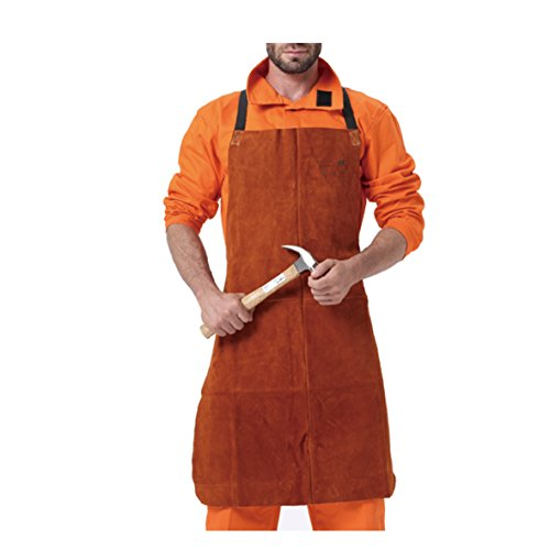 AllyProtect Length 42'' Heat/Flame Resistant Leather Welding Bib Apron NO Pocket for Men/Women for Woodwork/Home Improvement/Heavy Duty Work £¨ Coffee Color£ by AP ALLYPROTECT.COM
