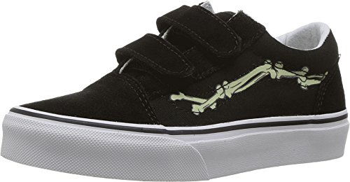 Vans Kids Old Skool V (Glow Bones) Black/True White Skate Shoe 11 Kids US