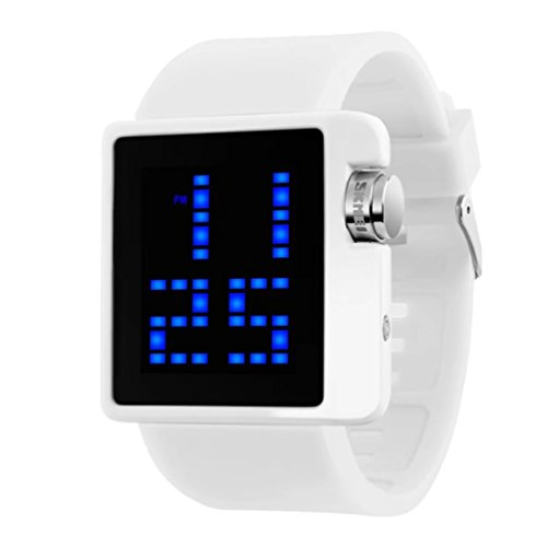 Unisex Sport Digital Watch, Big Face Square, Waterproof and Multifunctional Wrist Watch, Soft Silicone Strap, Easy-to-Read Numbers - White