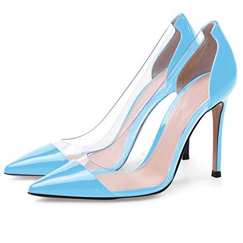 Pointed PVC Heel High PVC Womens Transparent Stilettos Pumps Wedding Dress Toe Shoes Blue Eldof 10cm Cap Event Pumps EtpYWwq