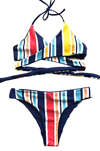 - CUPSHE Women's Reversible Colorful Days Stripe Halter Bikini Set (Medium (USA 8/10), Multi-Color)