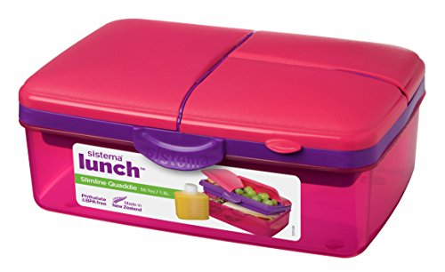Sistema Lunch Collection Slimline Quaddie Lunch Box Food Storage Container, 50.7 Ounce/ 6.3 Cup, Assorted Colors