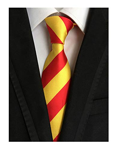 Secdtie Men's Red Yellow Striped Jacquard Woven Silk Tie Formal Necktie -