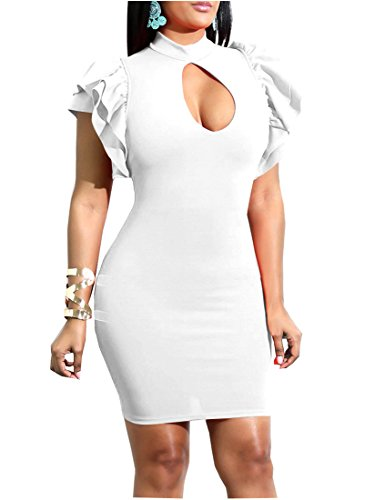 - Mokoru Women's Sexy Ruffle Short Sleeve Hollow Out Bodycon Party Mini Club Dress, XX-Large, White