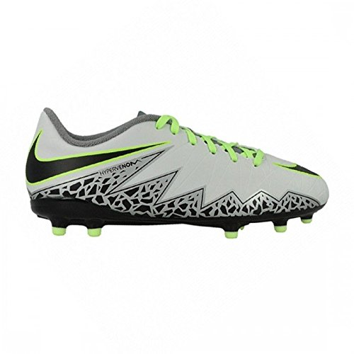 Nike Kids Jr Hypervenom Phelon II Fg Soccer Cleat, 5.5 Big Kid M, Pure Platinum, Black, Ghost Green