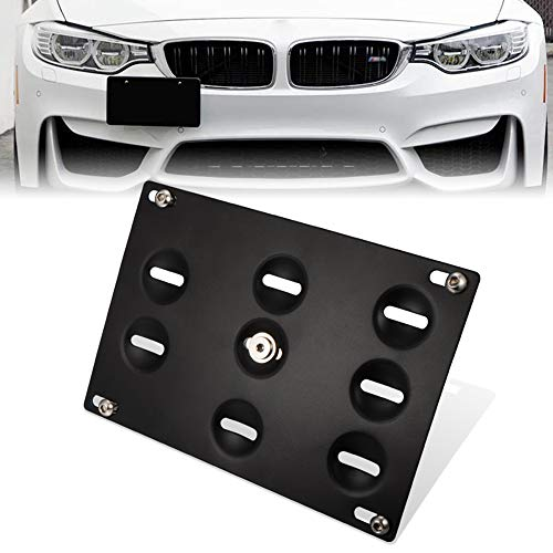 GTP Front Bumper Tow Hook License Plate Mounting Bracket Holder Relocator for BMW 12-18 F30/F31 3 Series 4DR,14-up F32 F33 F36 4 Series, 11-18 F10 G30 5 Series, Z4,11-19 Mini Cooper F55 F56 ()