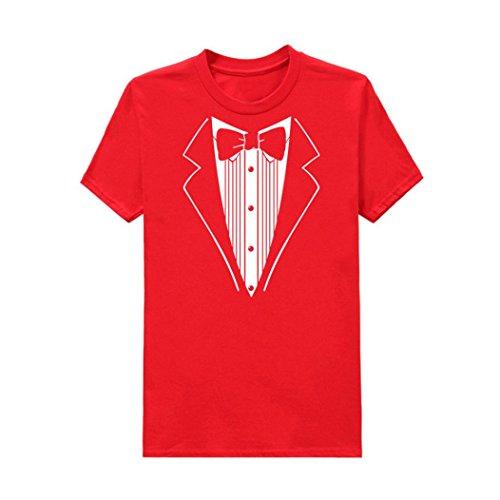 Bluestercool Hommes Imprimé Tops Manches Courtes Smoking Fantaisie T-Shirt Rouge