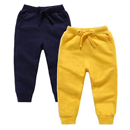 (ALALIMINI Spring Toddler Pants 2-Pack Active Jogger Casual Basic Unisex Little Kids Sweatpants Navy&Yellow 120CM/5)