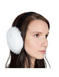 OBURLA Fur Earmuffs | Luxurious Real Fur Over Ear Warmers with Headband (White, Rabbit Fur)