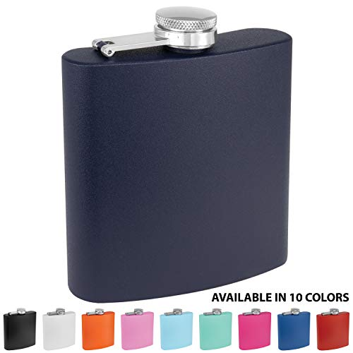 Clear Water Home Goods - 6 oz Powder Coated Stainless Steel Hip Flask - Wedding Party - Groomsman - Bridesmaid (Matte Navy, 1)