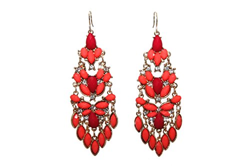 Lux Accessories Red Orange Stone Cluster Statement Earring (Vintage Glamour Costumes)