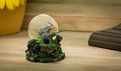 Mom Elephant and Baby 8.5 x 6.5 Resin Stone and Metal Shaded Tealight Holder Cadona International Inc