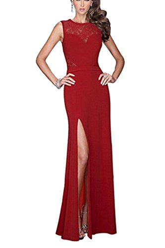 Viwenni Women's Floral Lace Long Evening Wedding Bodycon Cocktail Party Dress (Small, Red)