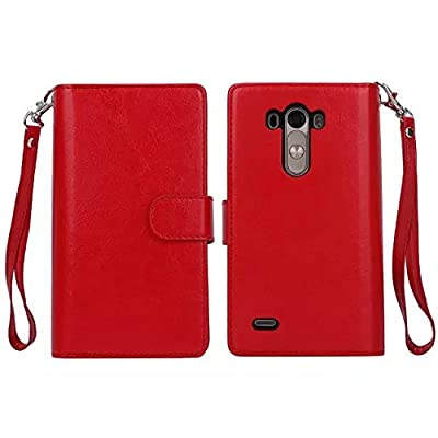 For LG G3 Case, DRUnKQUEEn® Card Holder Case LG G3 Wallet Leather Flip Case - Detachable Magnetic Hard Back Cover with Lanyard Wrist Strap by DRUnKQUEEn
