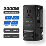 TryAce 2000W Worldwide Travel Converter and Adapter for Hair Dryer/Phones/Laptop,Set Down Voltage 220V