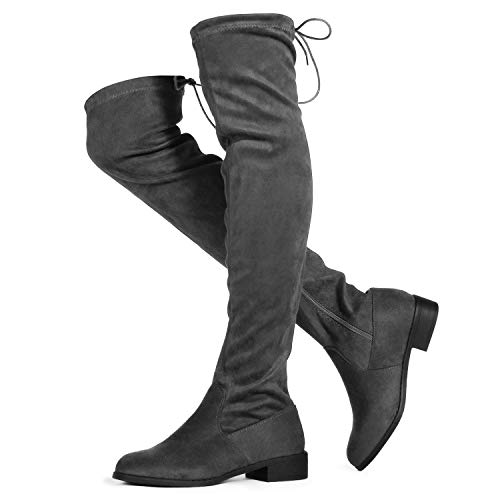 RF ROOM OF FASHION Women's Flat Low Heel Stretch Over The Knee Boots (Medium Calf) Grey SU (8.5)