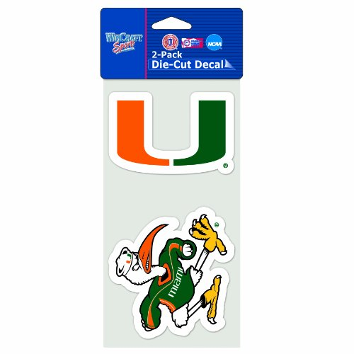 NCAA Miami Hurricanes 4-by-8 Die Cut Decal