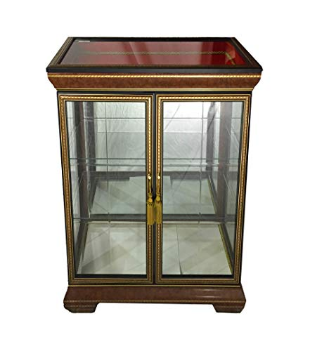 - (D) Classic Style Cabinet with Tiny Carved Decor, Display Case 74 Inches
