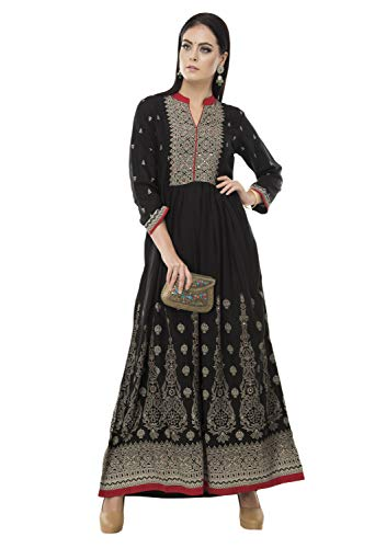 SABHYATA Womens Kurta Indian Kurtis Women Rayon Casual Tunic Top Long Dress Medium Black by SABHYATA