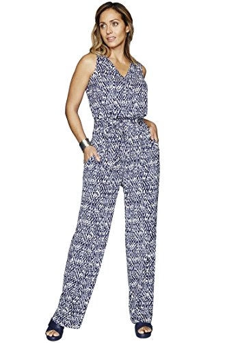 Jessica London Women's Plus Size Front Placket Jumpsuit Blue Multi Print,26 (Front Placket Print)