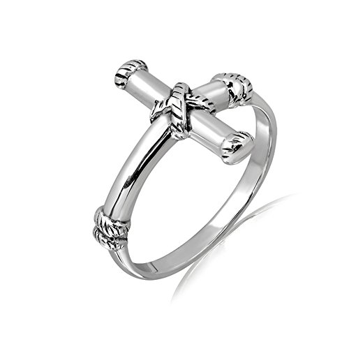 Oxidized Sterling Silver Sideways Simple Minimal Cross Wrap Around Band Ring, Size 8 by Chuvora
