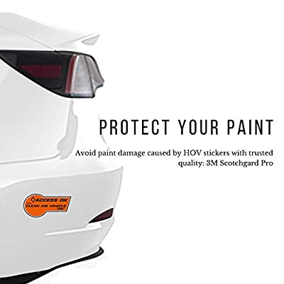 TESBROS HOV Decal Paint Protection Kit | Designed for California Electric Vehicles CEV & Car Pool Lane Requirements | Perfect for Tesla Model Y Accessories and Other EVs (Pack of 4): Automotive