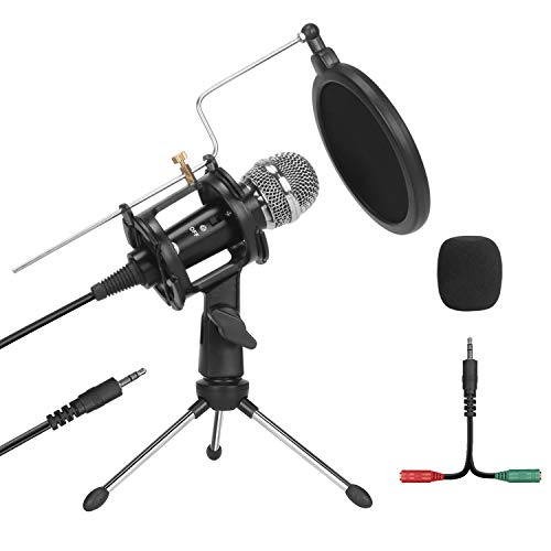 Studio Recording Microphone, 【Phone & Computer Microphone 2 in 1】 PEMOTech Condenser Broadcast Podcast Microphone with Stand, Plug & Play PC Microphone for Singing Gaming Live Stream & YouTube