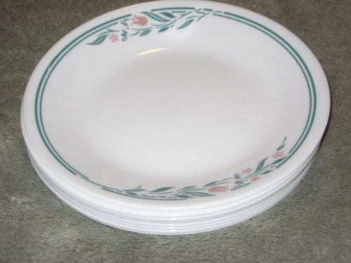 SET OF 8 - Vintage Corning Corelle Rosemarie (Tulip Pattern) 6 1/2 Inch Bread / Desert Plates