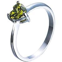 Ransopakul Heart Shape Olive Green Perdiot Love Wedding Ring White Gold Jewelry (8)