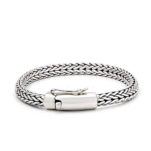 925 Sterling Silver Bracelet with Balinese Chain Tulang Naga Belah Rotan Style Motive Diameter 4x6mm for Women and Jewelry Gift, Box Clousure Lock, Length Size 7 Inches with 925 Stamp ()