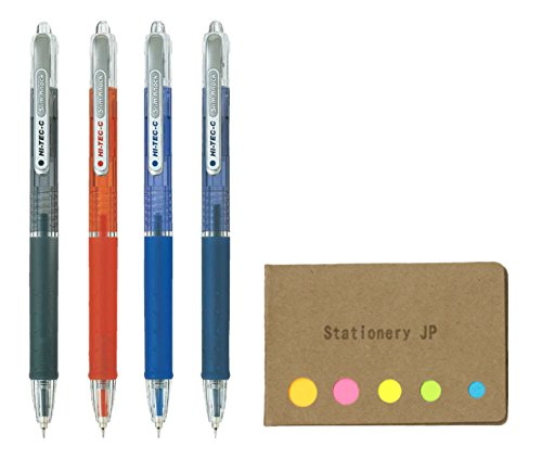 Pilot Hi-Tec-C SlimKnock 04 Retractable Gel Ink Pen, Ultra Fine Point 0.4mm, 4 Colors, Sticky Notes Value Set ()