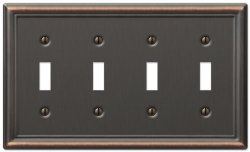 Amerelle Chelsea Quad Toggle Steel Wallplate in Aged Bronze