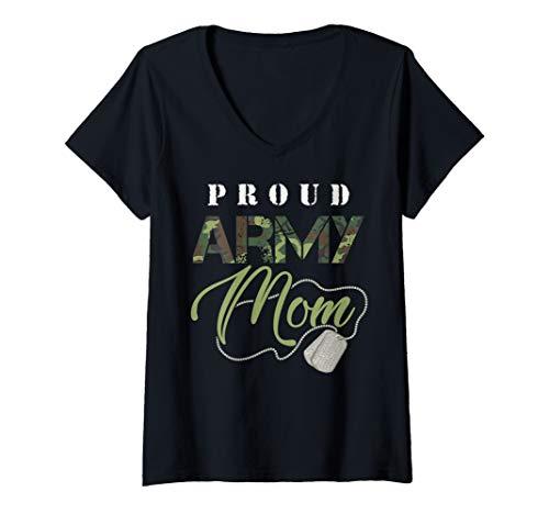 (Womens Proud Army Mom Art | Cute Military Mama Design USA Gift V-Neck T-Shirt)