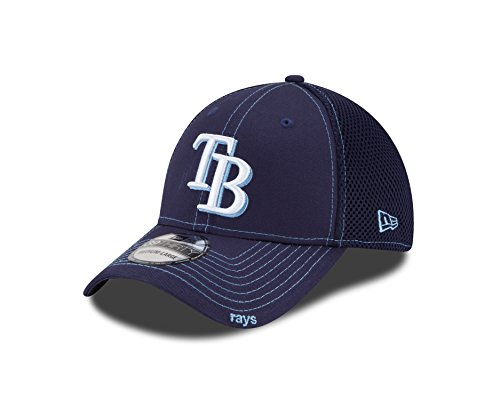 MLB Tampa Bay Rays Neo Fitted Baseball Cap, Light Navy, Medium/Large - Tampa Bay Devil Rays Team Colors