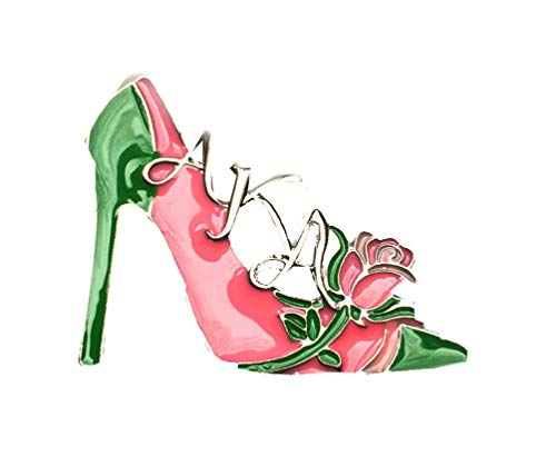 Nathan J. Alpha Kappa Alpha Sorority Pink Green Rose High Heel Pin-Brooch