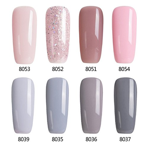 Modelones Gel Nail Polish Set - 8 tiny bottles, Soak Off Gel Polish, Required UV LED Nail Light Lamp, 0.24 OZ