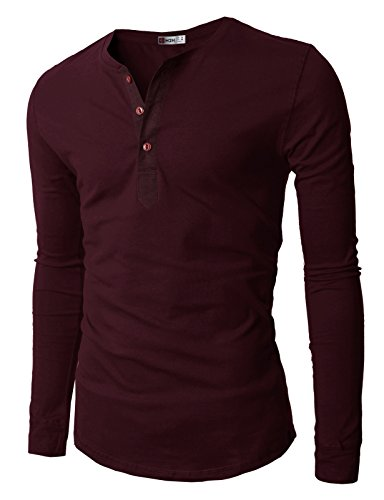 - H2H Mens Henley T-shirts with Long Sleeve , Wine, US XL (Asia XXL)