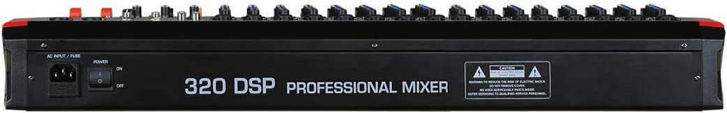 Audio2000S AMX7375 16-Channel Audio Mixer with 320 DSP Sound Effects Level-Control Faders on All Channels and USB//Computer Interface Stereo Sub Out with Sub-Out Level-Control Fader