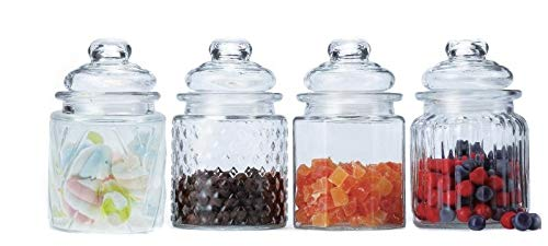 DINY Home & Style 4 Piece Mini Glass Canister Set 10.15 Oz/300ml Petite Sizes Perfect for Beans, Teas and Snacks Candy Jar