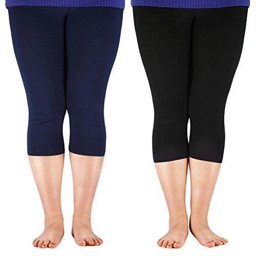 (Century Star Women's Plus Size Elastic Waist Cotton Basic Solid Capri Leggings 2 Pairs Navy Black US 3X Plus(Tag 6XL))