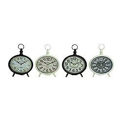 Benzara 92205 Creative Round Shaped Metal Desk Clock, Assorted