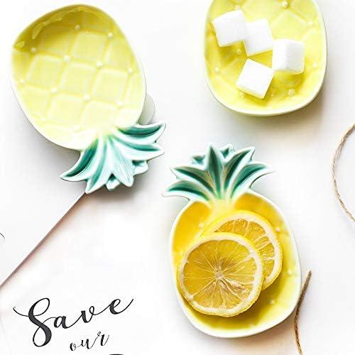 Plato de piña creativo amarillo de cerámica para condimentar salsa de soja, vinagre, platos, ketchup, frutas, decoración de regalo: Amazon.es: Hogar