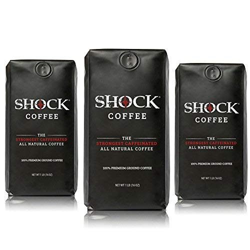 Shock Ground Coffee Bundle, The Strongest Caffeinated All-Natural Coffee Without The Jitters, 3 lb Bag