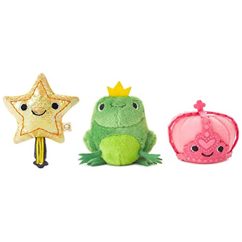 Hallmark Happy Go Luckys Toddler Toys, Small Stuffed Animals, Princess and The Frog Crown Fairy Tales, Set of 3
